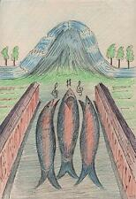 SINGING FISH IN SURREALIST LANDSCAPE Drawing ARTHUR MITSON 1988 SURREALISM