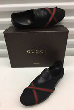 $570 Gucci Sneakers Black Canvas Red Green Women's Shoe Sz 8.5 Us