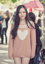 NEW Womens Japanese Fashion Cute Kawaii Casual Loose Sweetheart Long Sleeve Lace