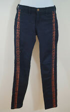 RAG & BONE Bengal Split Blue Copper Embroidery Skinny Leg Jeans Pants Sz27