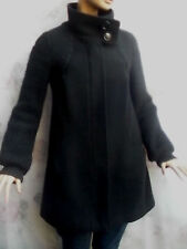 MISS SIXTY MADE IN ITALY BLACK WOOL BLEND KNITTED SLEEVES ZIPPERED COAT SZ M