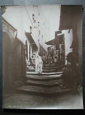 rare antique old PHOTO LEROUX RUE KLEBER STREET SCENE AFRICA  ALGERIA ALGER