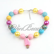 Ice Cream Pendant Gumball Bubblegum Chunky bead Kids Necklace For Gift