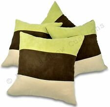 "Set of 4 Lime Green Brown & Cream 18""  Faux Suede Cushion Covers BNIP Stripe"