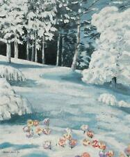 Original Acrylic on Board of Crocus in The Snow White Plains by Henry Jolly 1980