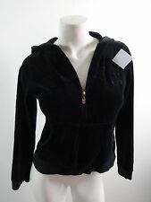 BCBG MAX AZRIA WOMENS BLACK VELVET FRONT ZIP HOODIE SWEATER SIZE S CUTE!