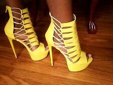 FRH Platform Zip Back High Heel Peep Toe Booties, Unique, Funky, Size 8, *Yellow