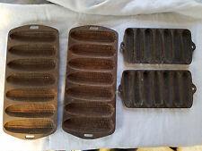 Four vintage cast iron corn bread molds Wagner Ware Krusty Korn Kobs 1920