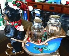 2009 DWK Limited Edition Christmas Bear Salt & Pepper Shakers In Sleigh w Tags