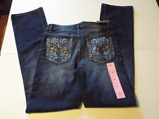 NINE WEST WOMEN'S ROSEMARY BLING JEANS COLOR ROYALE SIZE 6 STRAIGHT FIT NWT