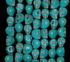10X8MM  TURQUOISE GEMSTONE BLUE CARVED SKULL HEAD LOOSE BEADS 16""