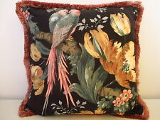 Sanderson Guadeloupe Linen Designer Vintage Cushion Cover - pink ruche trimming