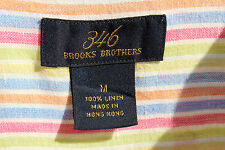 Brooks Brothers 346 M Gentleman's Colorful Striped Linen Short Sleeve Shirt