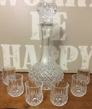 Pretty Retro Crystal D'arques Glass Decanter And Six Matching Glasses
