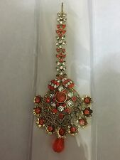 Bollywood Costume Jewellery Tikka Orange & White Stones  Head Piece..UK SELLER
