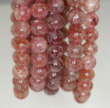 8MM ORANGE STRAWBERRY LEPIDOCROCITE QUARTZ GEMSTONE AAA ROUND LOOSE BEADS 7""