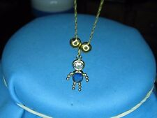 Gorgas Gold Necklace Pendant 14K Solid Gold Blue and Whit Tourmaline 21.5 Inche