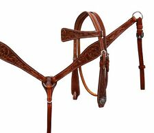 Argentina Cow Leather Headstall and Breast Collar Set & Split Reins Medium Oil