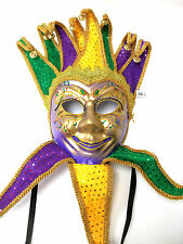 Jester Sequin Purple Green Gold Mardi Gras Masquerade Mask Wall Hanging