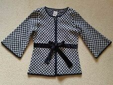 Heather B 100% Wool Sweater Jacket Velvet Tie Waist Diamond Black Gray White PS