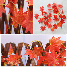 Home Decor Red Autumn Leaves Garland Maple Leaf  Vine Fake Foliage Flower Sale