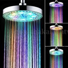 7 Colors Automatic Changing 8'' Round Top Shower Head Bathroom LED Light Rainfal
