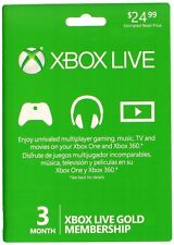 Microsoft Xbox 360 & Xbox One 3 Month Live Card Membership
