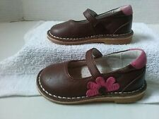 L'Amour Girls Mary Janes Size 5 Brown with Pink Flower