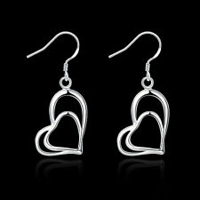 China Wholesale 925 Silver Filled Heart Earrings Retro Costume jewelry Fine gift