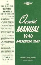 1940 CHEVROLET OWNERS MANUAL FOR GLOVE BOX    ALL MODELS