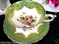 PARAGON TEA CUP AND SAUCER GREEN & PURPLE VIOLETS PATTERN TEACUP GOLD GILT