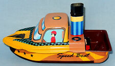 Tin Toy Pop Pop Speed Boat  Reproduction Of A Classic Collectable Toy Brand New