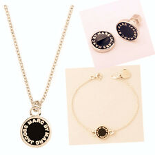 NEW FASHION MARC BY MARC JACOBS NECKLACE EARRING BRACELET BLACK GOLD SET #S002