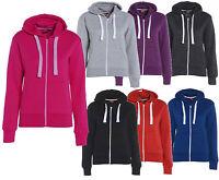 Ladies Girl Plain Zip Up Hoodie Sweatshirt Women Fleece Hoody Jacket Top
