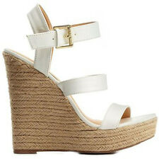 "White espadrilles 5"" high heel Wedge Platform mary jane Ankle Strap Sandals  7"