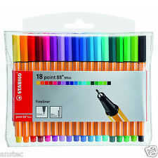 STABILO Point 88 Mini Fineliner Ballpoint Pens-Assorted Colours Art Wallet of 18