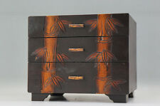 Japan KOTANSU Small Wooden Chest Bamboo pattern Free Shipping 718r07