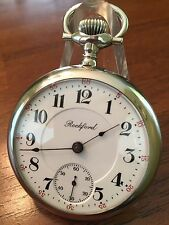 "Scarce 18s Rockford 1908 "" Winnebago "" Grade 205 RR Pocket Watch Elk Case"