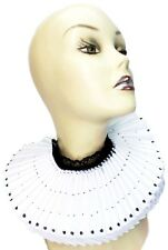 Ruffled Collar White Black Satin Tall Wide Elizabethan Neck Ruff Victorian Steam