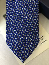 New E. Marinella Naples Hand Made Men's Blue Neck Tie 100% Silk Style from Italy