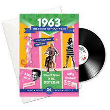 1963 53rd Birthday | Anniversary Gift -1963 4-In-1 Card,Book,CD and Download