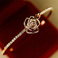 Women Fashion Flower Crystal Bangle Gold Filled Cuff Chain Bracelet Jewelry Gift