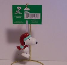 Snoopy Christmas Ornament Glitter Stocking Hat Scarf Peanuts