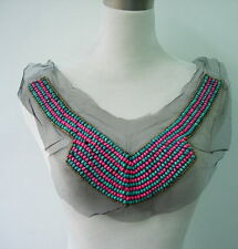 NK198 Antique Egypt Style Collar Neckline Wood Beaded Applique Colorful Stripe