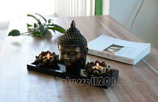 BALINESE BUDDHA HEAD SCULPTURE LOTUS TEA LIGHT CANDLE HOLDERS HOME DECOR SET