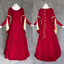 Red Velvet Gold Satin Medieval Renaissance Gown Dress Costume Cosplay Wedding S