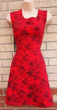 PRIMARK RED BLACK FLORAL ROSES PRINT QUILTED SKATER FLIPPY A LINE TEA DRESS 10 S