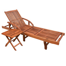Wooden Garden Sun Lounger Set Solid Wood Table Folding Outdoor Furniture Day Bed
