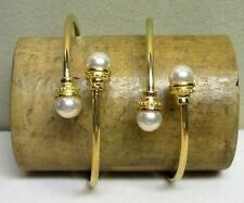 2 VINTAGE GOLD PLATED FAUX PEARL BEAD BANGLE CUFF BRACELET SET NEW OLD STOCK