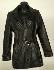 Womens Wilson's Leather Pelle Studio genuine leather jacket belt zip black Small